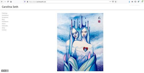 The front page of Carolina Seth's art portfolio website