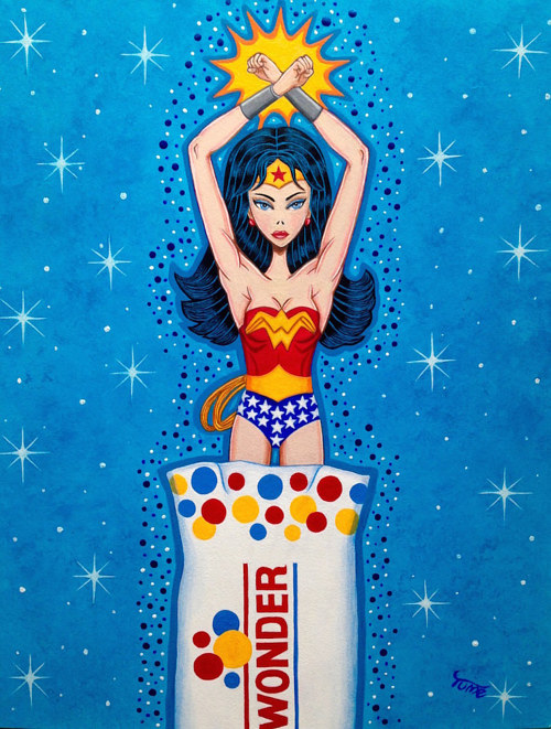 A painting of Wonder Woman emerging from a loaf of Wonder Bread