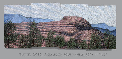 An acrylic painting of a rock formation over four panels
