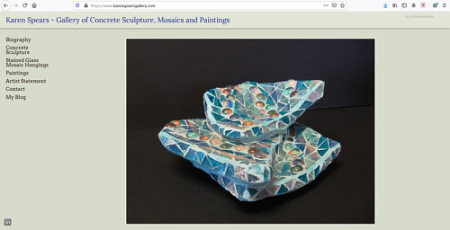 The front page of Karen Spears' glass art website