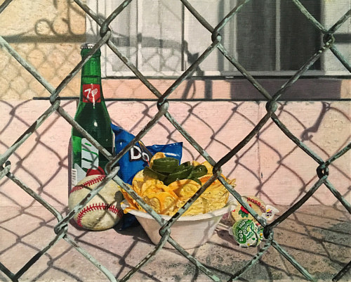 A still life painting of some American foods behind a chain link fence
