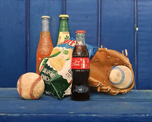 A still life painting of sodas and baseball paraphenelia
