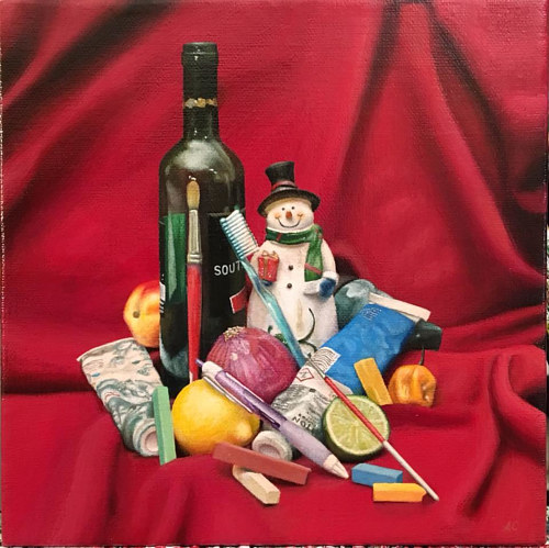 A painting of a snowman, wine bottle, and toothbrushes against a red curtain backdrop