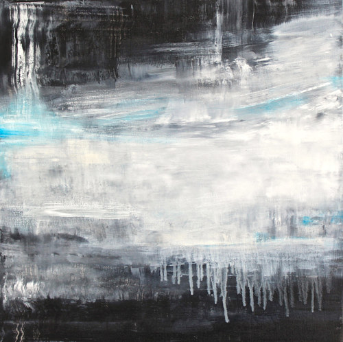 An abstract painting with cool tones of blue and white
