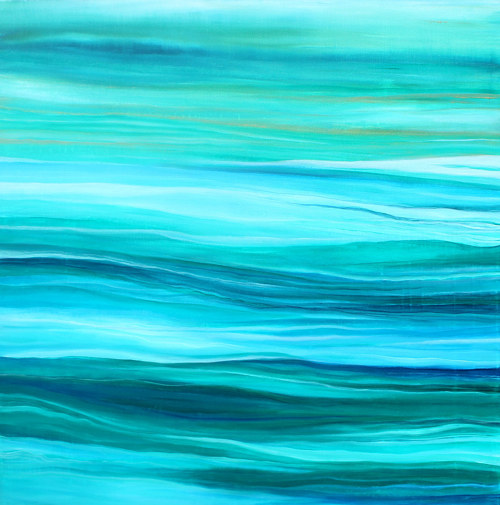 A painting with bright blue hues and wave forms