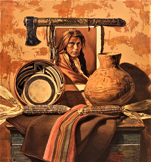 A painting of a table holding artefacts and a portrait