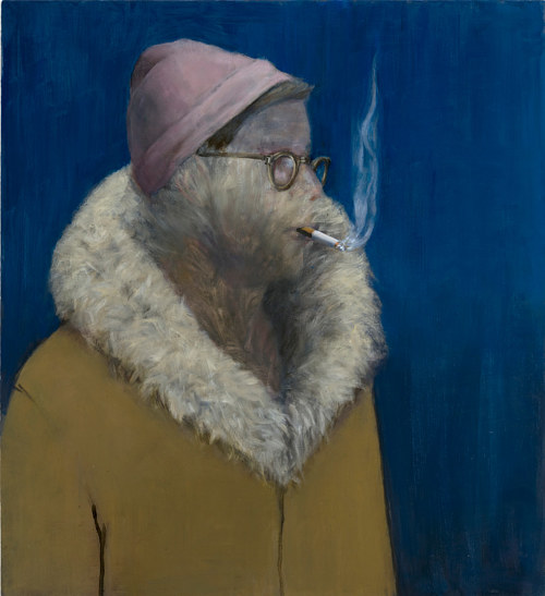A painting of a man in a coat smoking