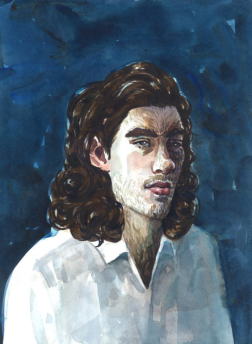 A painting of a man with wolf-like facial hair on a deep blue background