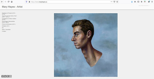A screen capture of Mary Hayes' art portfolio website