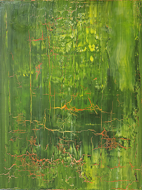 A green painting with a cracked texture over its surface