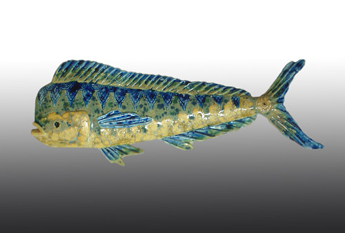 A ceramic sculpture of a mahi-mahi