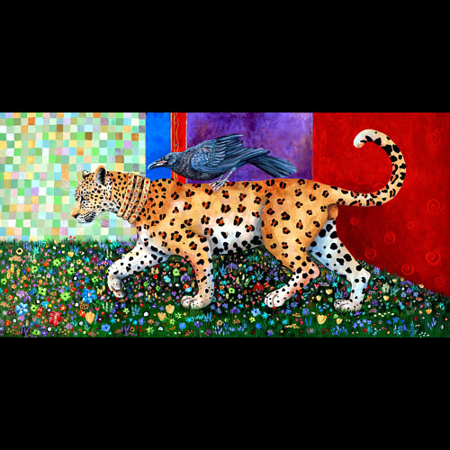 A mixed media painting of a bird riding on a leopard's back