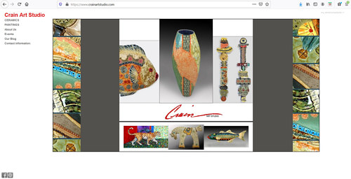 The front page of the Crain art studio website