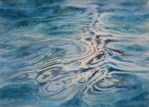 A painting of smoke curling over a body of water