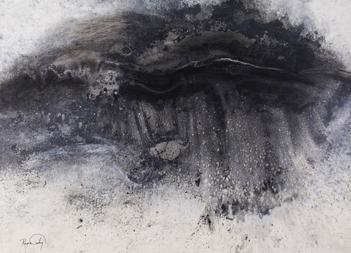 An abstract charcoal painting of water