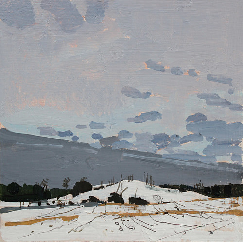 A painting of a snowy field under a grey sky