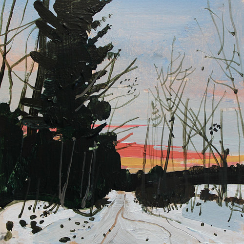 A painting of dusk in a wintry landscape