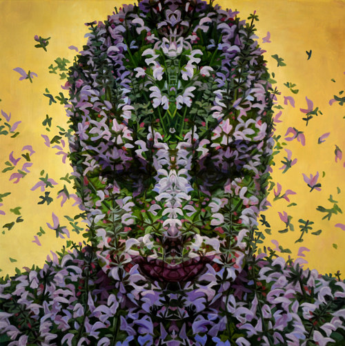 A painting of a face made from flowers on a golden background
