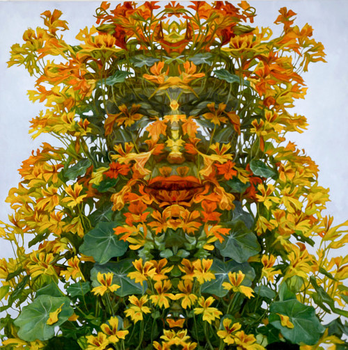 A painting of a face resolving out of yellow flowers and plants
