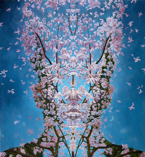 A painting of pink blossoms on branches creating a face