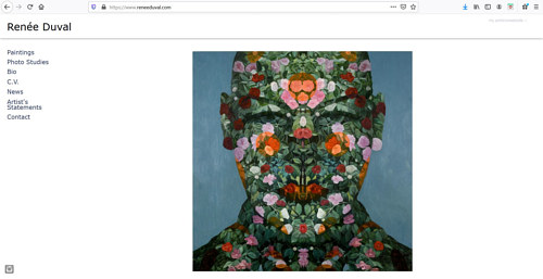 A screen capture of Renee Duval's art portfolio website