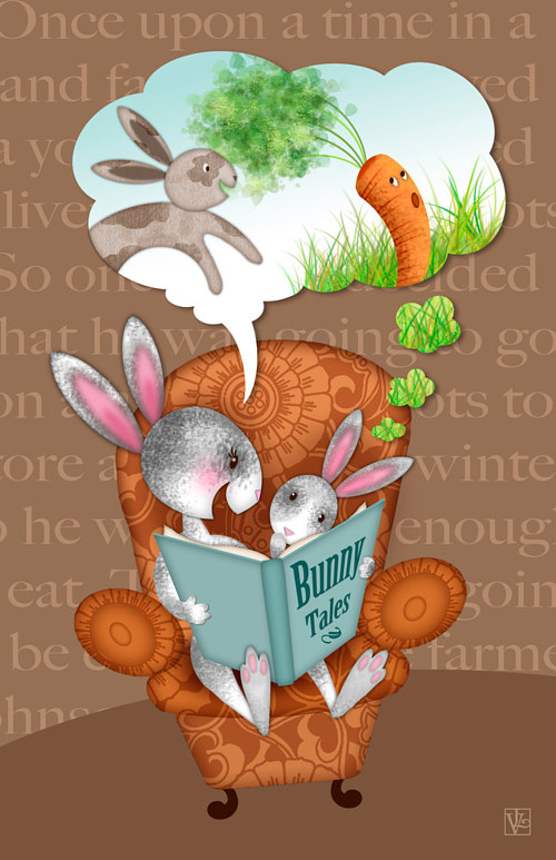 A digital artwork of bunnies reading