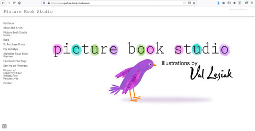 A screen capture of Valerie Lesiak's art portfolio website
