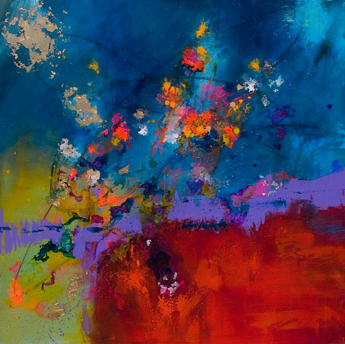 A painting using planes of evolving colour and bright splatter marks