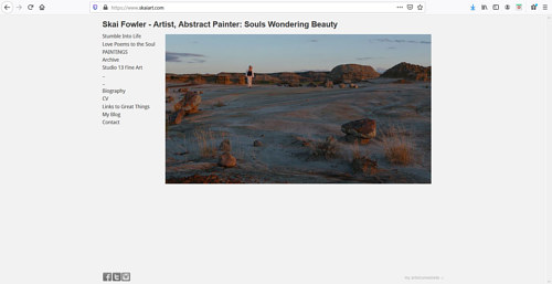 A screen capture of Skai Fowler's art portfolio website
