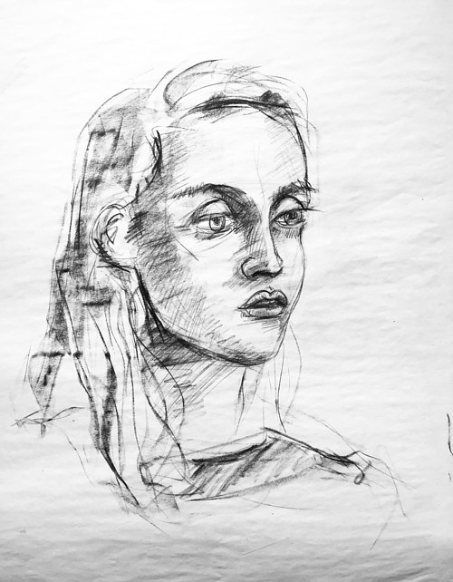A drawing study of a woman's face