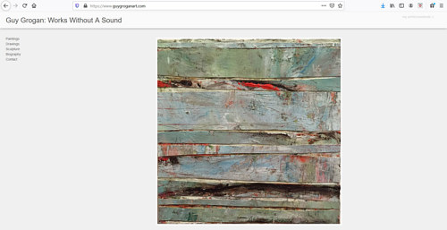 A screen capture of Guy Grogan's art portfolio website