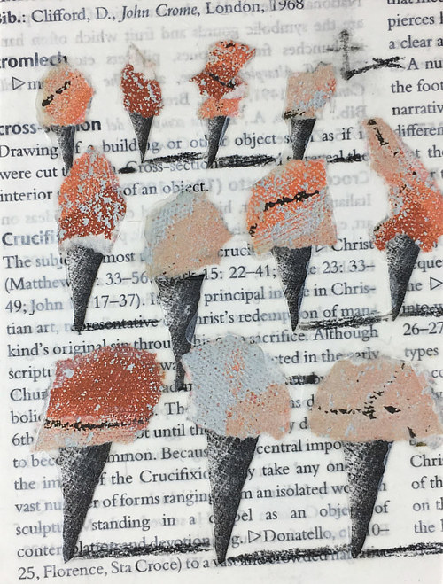 An artwork composed of ice cream cones painted over an encyclopedia page