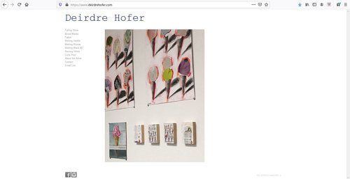 A screen capture of Dierdre Hofer's art portfolio website