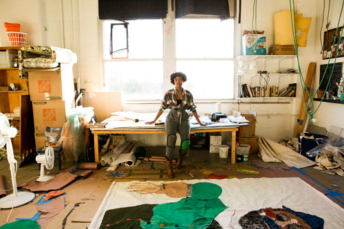 A photo of artist Schabalala Self in her art studio
