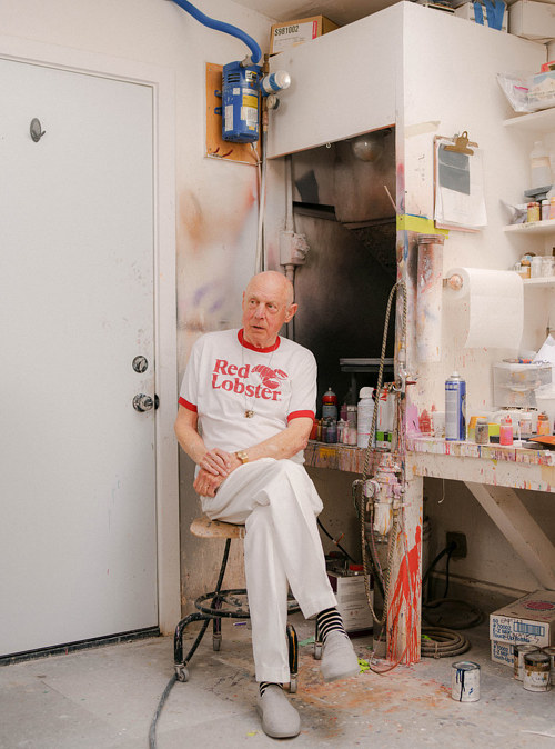 A photo of sculptor Ron Nagle in his studio