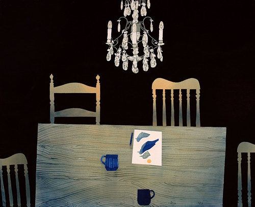 A painting of a table with a drawing of a bird on it