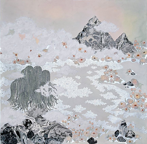 A mixed media artwork depicting fog rolling into a valley