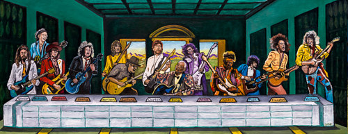 A reimagining of the last supper with musicians
