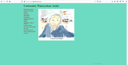 A screen capture of Chris Gill's art portfolio website