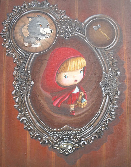 A painting of a cute version of Little Red Riding Hood