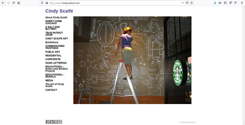 A screen capture of Cindy Scaife's art portfolio website