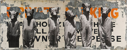 A mixed media artwork with figures dressed as pigs