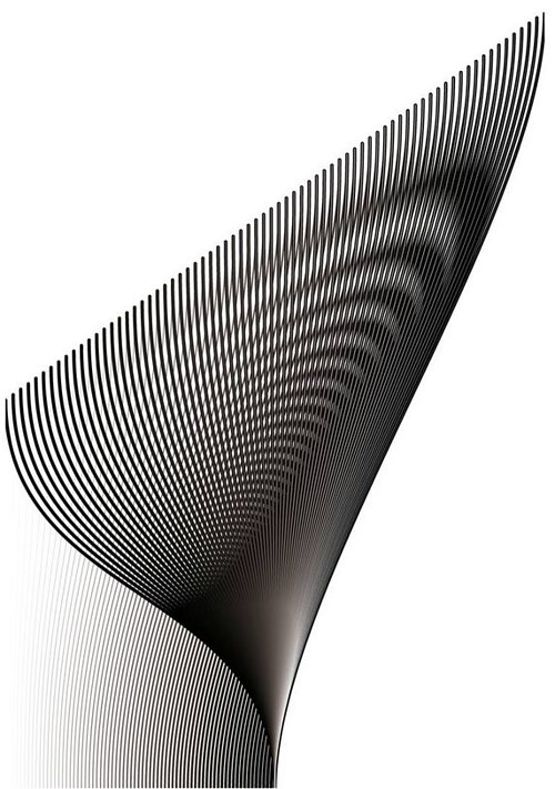 An artwork constructed from black and white stripes in varying lengths and widths