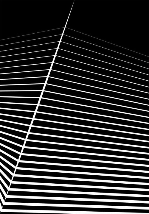 A black and white artwork with a geometric composition