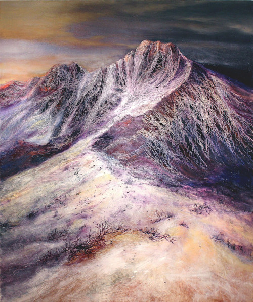 An oil painting of a mountainous landscape
