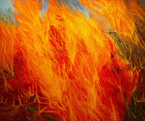 An oil painting of a raging fire