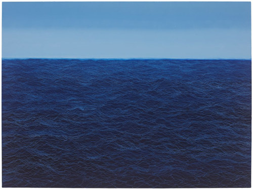 A painting of a dark ocean under a pale horizon line