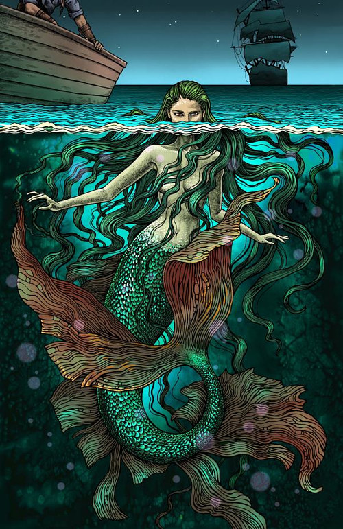 A mixed media illustration of a mermaid