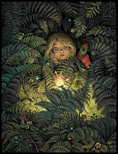 An illustration of a young boy surrounded by thick ferns