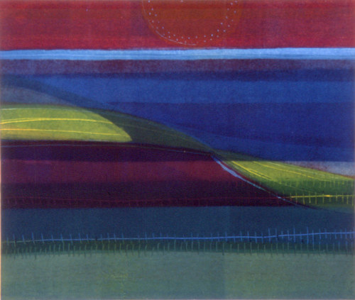 A monoprint of an abstract colour field